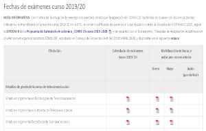 <p>Con motivo de la suspensión de la docencia presencial decretada por la Consejería de Educación de la Comunidad de Madrid el pasado 9 de Marzo de 2020, se ha modificado el calendario de exámenes de todas las titulaciones de grado y del Máster Universitario en Ingeniería Industrial (MUII) y el Máster Universitario en Ingeniería de Telecomunicación (MUIT), impartidos en la Escuela Politécnica Superior (EPS) de la Universidad de Alcalá (UAH), de acuerdo a lo aprobado por la Junta de Escuela del 6 de Mayo de 2020.</p>  <p>Concretamente, el calendario de las titulaciones de grado impartidas en la EPS seguirá la OPCIÓN B expuesta en la <a class=pdf href=https://codatz.uah.es/e12dc9fc185ec8ba.pdf target=_blank>Propuesta de Calendario Académico_COVID-19 curso 2019-2020</a>, aprobada por el Consejo de Gobierno de la UAH del 23 de Abril de 2020.</p>  <p>Por su parte, el calendario de exámenes para las titulaciones de máster (MUIT y MUII) será el que sigue a continuación, ratificado por el mismo Consejo de Gobierno de la UAH del 23 de Abril de 2020:</p>  <ul> <li>Exámenes no presenciales de la convocatoria ordinaria: del 25 de Mayo al 19 de Junio de 2020.</li> <li>Exámenes de la convocatoria extraordinaria: del 13 de Julio al 5 de Septiembre.</li> </ul>  <p>Las nuevas fechas de exámenes para cada asignatura de cada titulación se encuentran actualizadas en el lugar habitual de la web de la EPS, <a href=https://escuelapolitecnica.uah.es/estudiantes/fechas-examenes.asp rel=noopener target=_blank> https://escuelapolitecnica.uah.es/estudiantes/fechas-examenes.asp</a></p>
